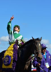 Bar Of Gold, with jockey Irad Ortiz, Jr.,  celebrates after winning the Filly & Mare Sprint at the Breeders Cup world championships at Del Mar Thoroughbred Club in 2017.