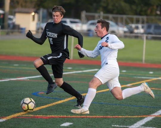 10/22/18-  #15 Jackson and #2 CBA  Dominic Bellomo Ben Schnaak CBA vs. Jackson Soccer/Photo James J. Connolly/Correspondent