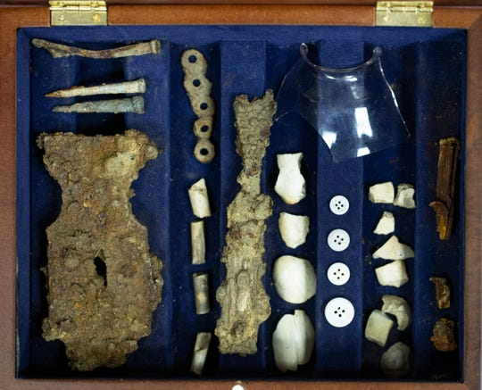 Artifacts the Watsons' team found at Duffy's Cut, including nails, a fork and buttons.