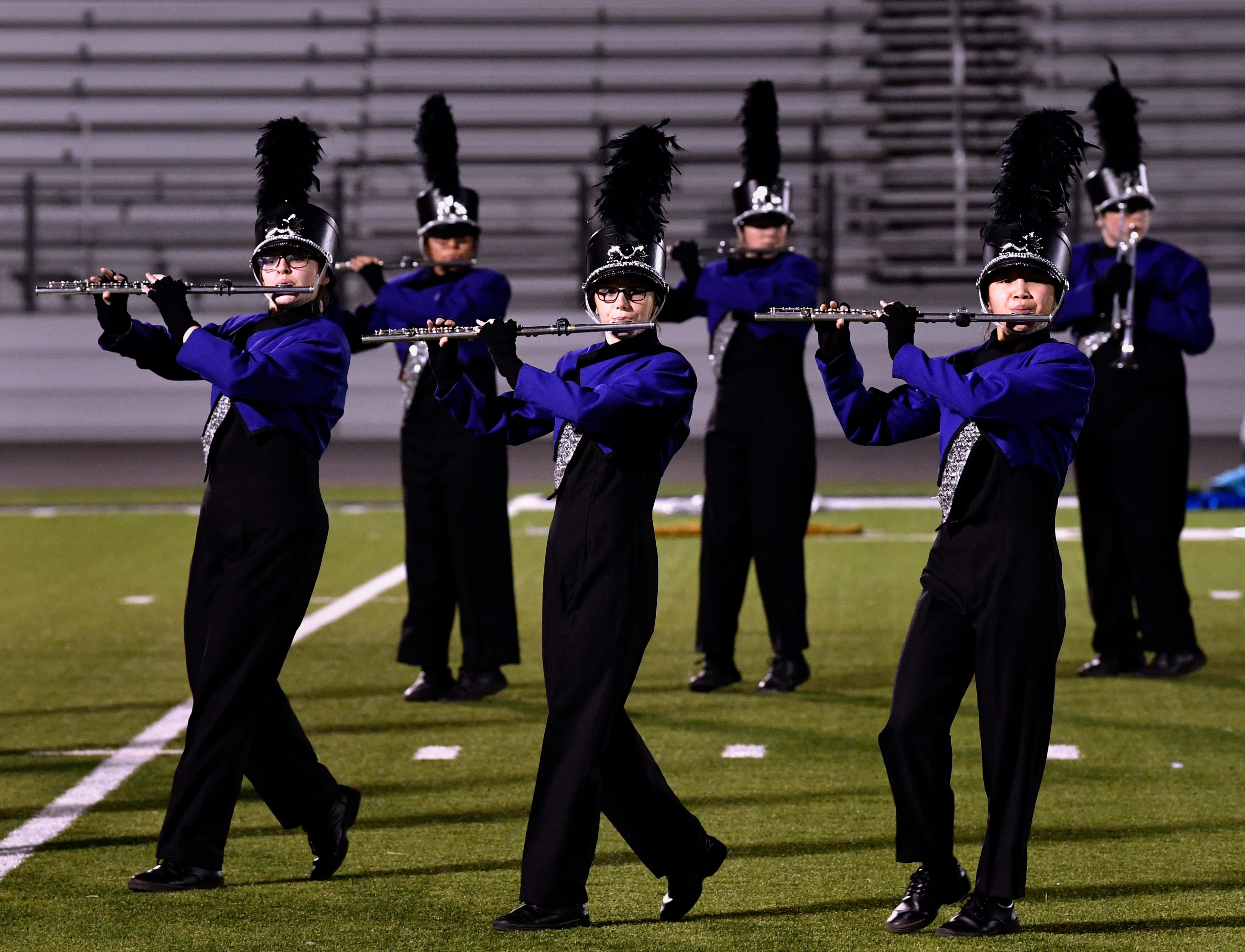 The Wylie High School marching band Pure Gold performs Monday. The band earned a Division 1 rating.