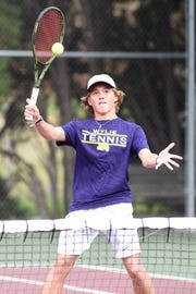 Wylie's Reid Heuerman hits a shot during the No. 3 boys doubles match at the Region I-5A quarterfinal at Vernon on Tuesday. Heuerman and partner Carson Cole won 6-1, 6-2.