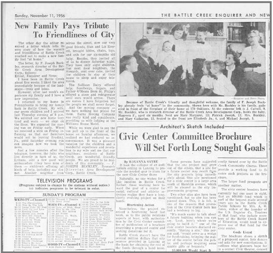 An article in the November 11, 1956 edition of the Battle Creek Enquirer describes how the Buckley family arrived in Battle Creek, and their subsequent warm welcome by the city.