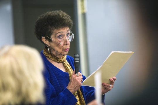 Woodburn Court resident Patricia Donohue speaks during a 2015 gathering before a public hearing on Broome County's budget, which included a plan to outsource Central Kitchen to Aramark Corp.