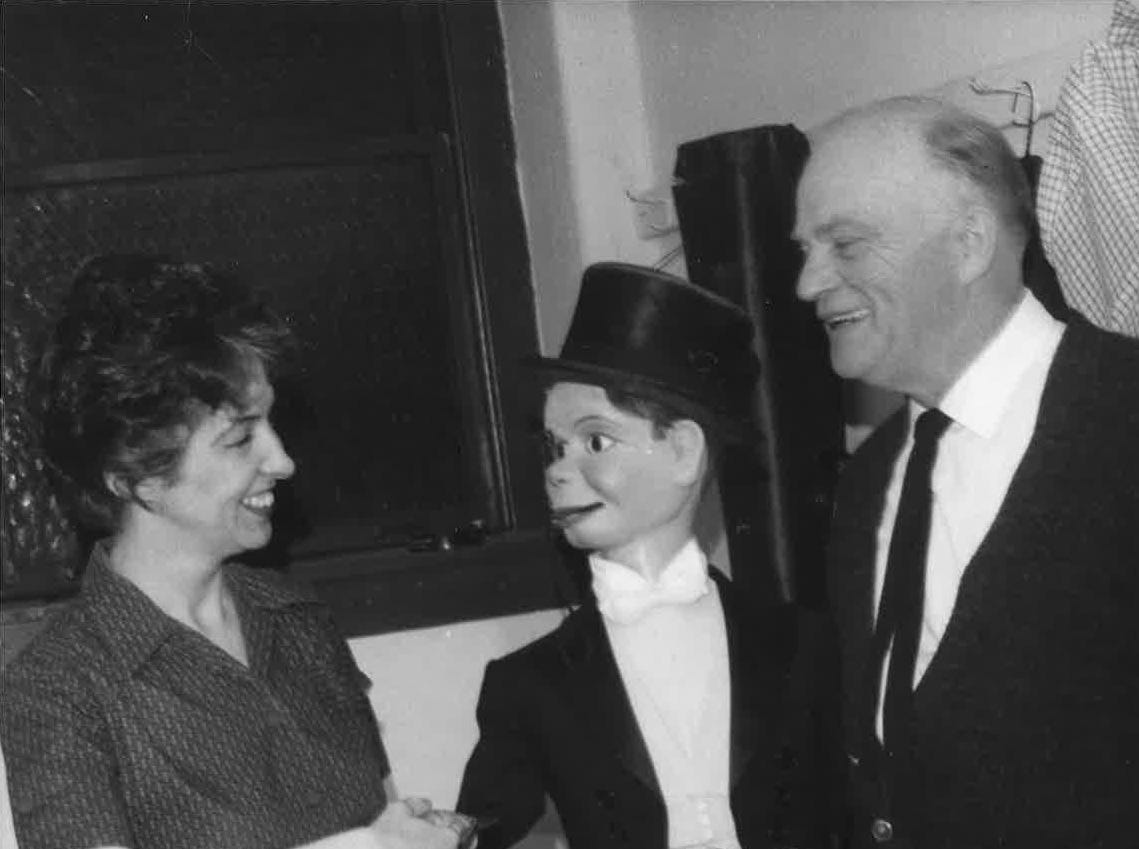 Patricia Donohue of Binghamton, shown with ventriloquist Edgar Bergen and his dummy, Charlie McCarthy, in 1963 when the famed two came to do summer theater in the area.