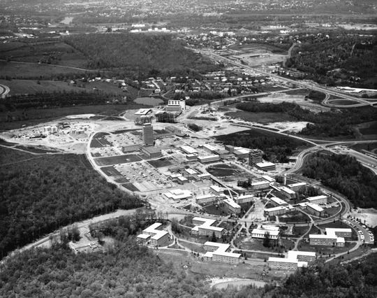 A Bob Garvin aerial photo of the Binghamton University campus, about 1965.