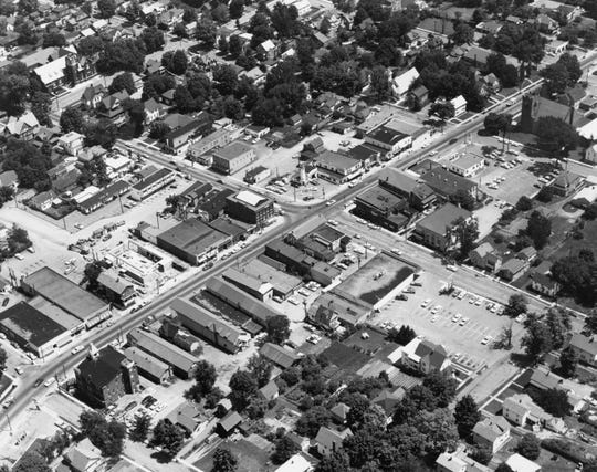 Bob Garvin's aerial photo of the intersection of West Main Street and Nanticoke Avenue in Endicott, about 1960.