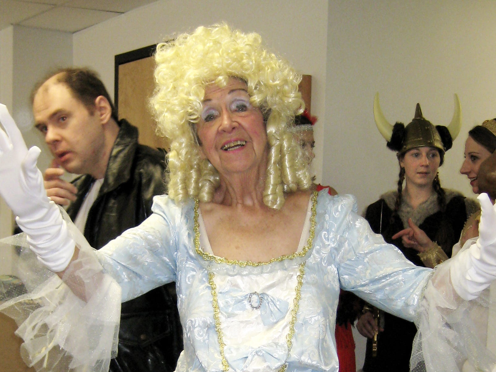 Playing Marie Antoinette (before she lost her head), Patricia Donohue shown in 2007 as part of a Fall Fashion Show offered by Mental Health Association of the Southern Tier.