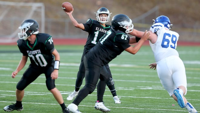 Klahowya quarterback John Hartford is close to setting several school passing records. But he had never played the position before he got to Klahowya.