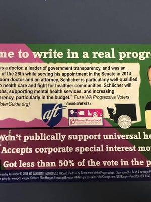 A flyer mailed last week, funded by a conservative PAC, encourages voters to write in former State senator and candidate Nathan Schlicher.