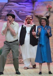 "From left, Adrian DeGroot, Robin Abille and Irene Bach rehearse a scene from ""Appointment with Death."""