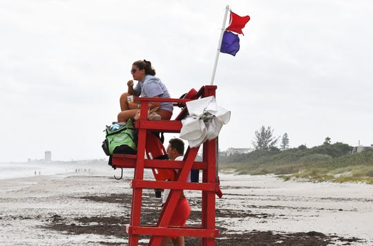 The lifeguards at Indialantic had very few beachgoers to watch on Sunday. Red tide was not an issue for most Brevard beachgoers on Sunday, but the wind was much stronger than previous days.