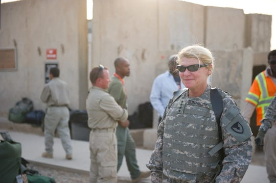 U.S. Army Gen. Ann Dunwoody, commander of Army Materiel Command, prepares to fly in 2010 at Camp Liberty, Iraq.