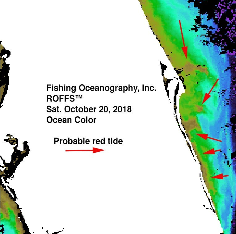 Satellite images show red tide hugging Space Coast