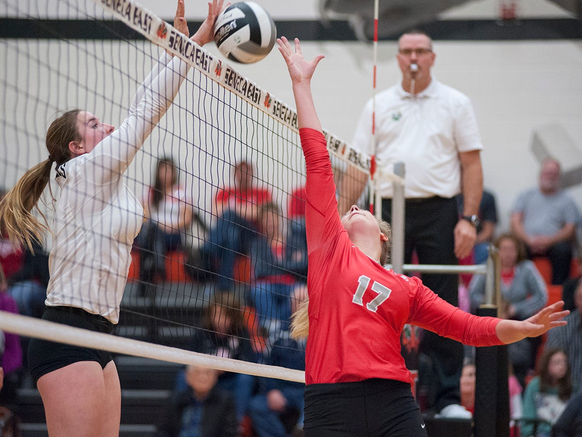 Buckeye Central's Allison Weithman tries to tip a ball at the net.