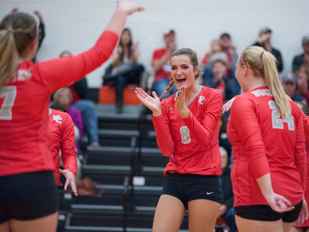 Buckeye Central's celebrates after a block.