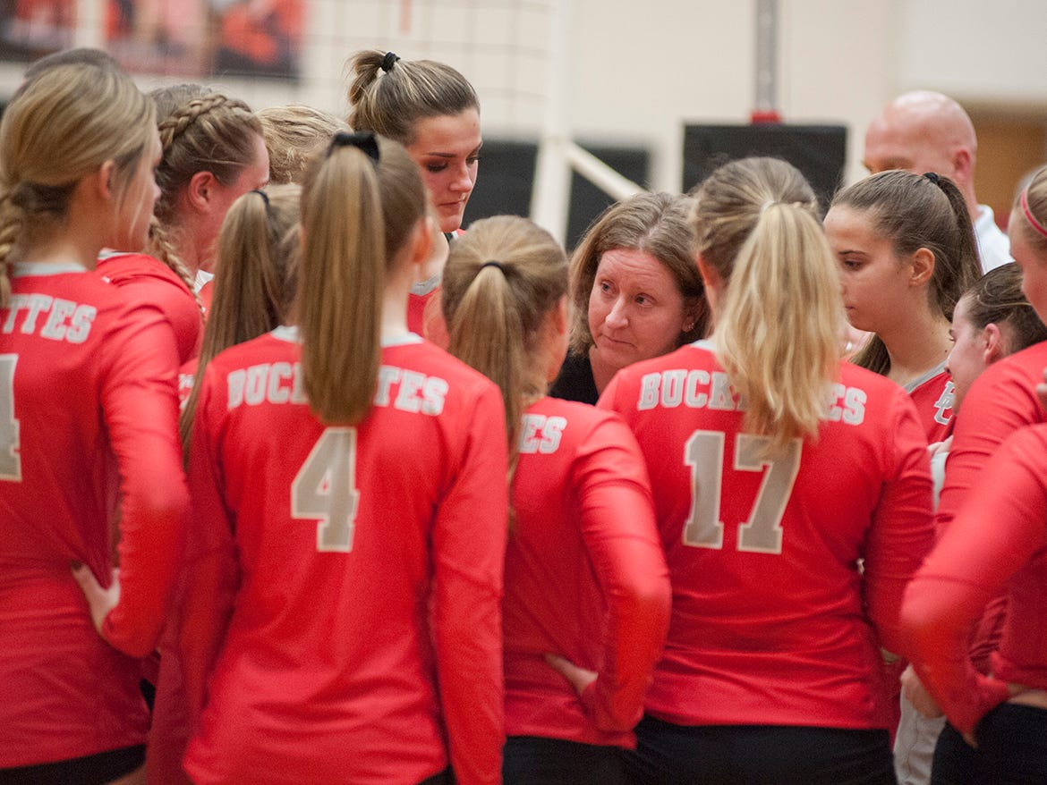 Buckeye Central huddles during a timeout.