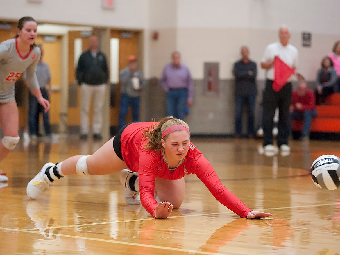 Buckeye Central's Claudia Pifher dives for a ball.