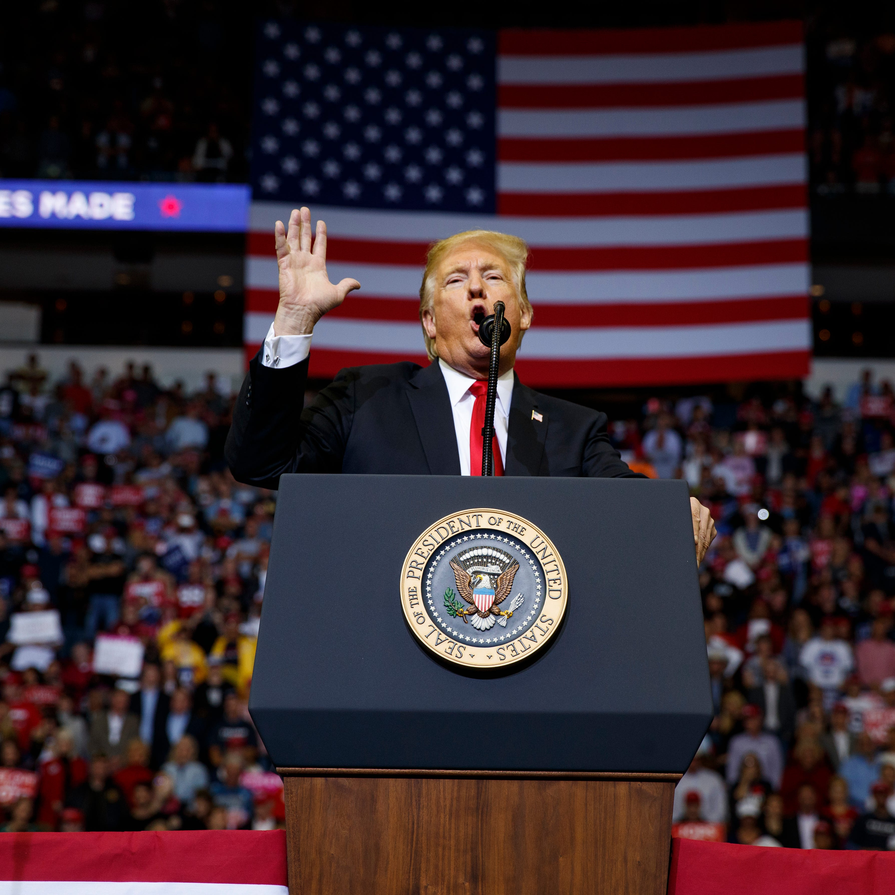 President Donald Trump speaks during a campaign rally for Sen. Ted Cruz, R-Texas, at Houston Toyota Center, Monday, Oct. 22, 2018, in Houston. (AP Photo/Evan Vucci)