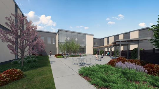This rendering shows the courtyard for a proposed substance abuse inpatient treatment facility in Cherry Hill.