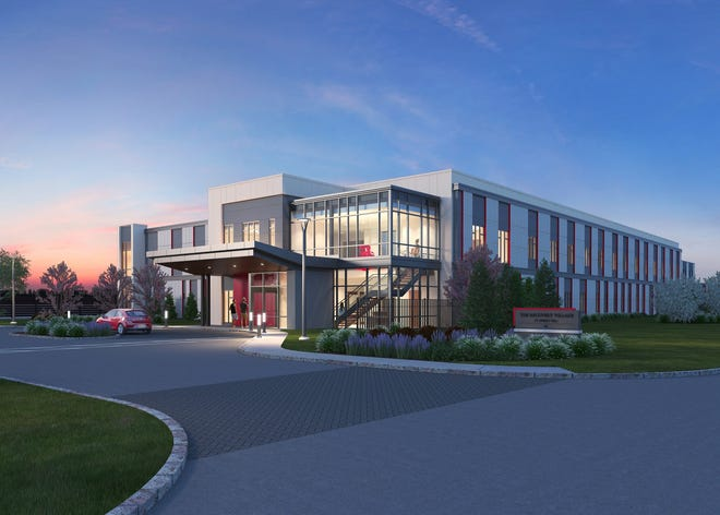 This rendering shows the main entrance for a proposed substance abuse inpatient treatment facility in Cherry Hill.