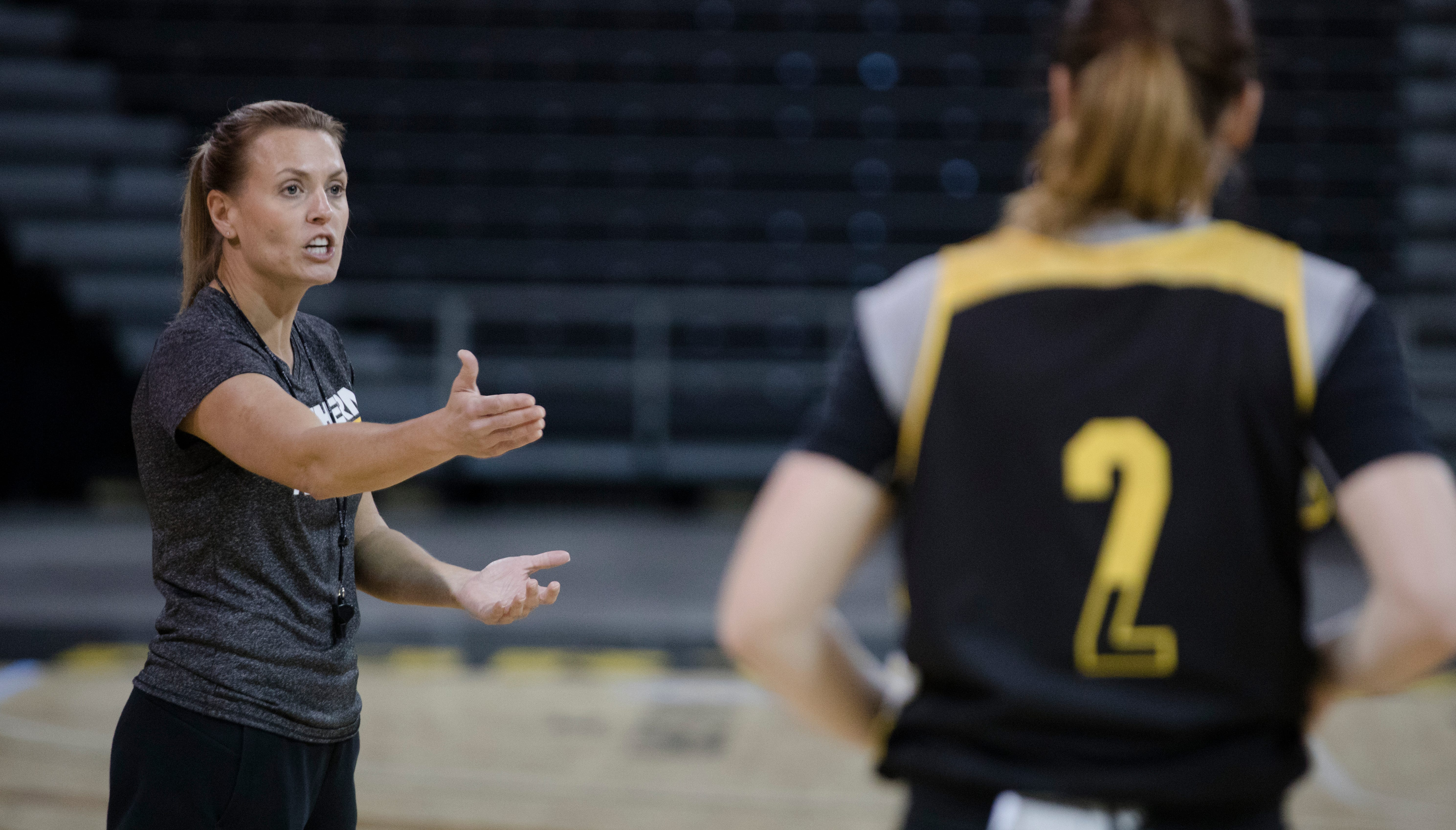 Northern Kentucky Norse coach Camryn Whitaker during NKU's basketball media day on Tuesday, Oct. 23, 2018 in Newport, Ky.
