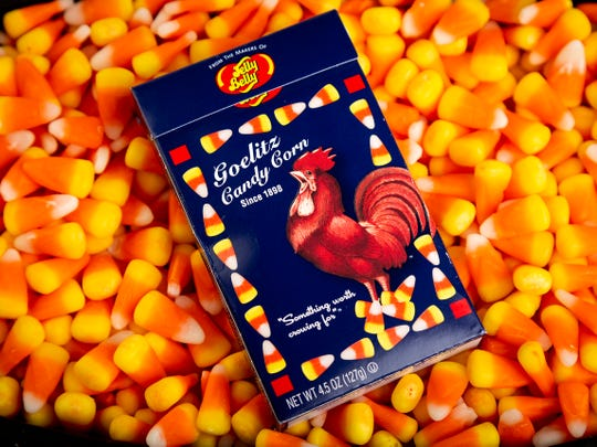 A box of Goelitz recipe candy corn in a bed of Brach's candy corn in the Enquirer Studio in downtown Cincinnati on Tuesday, Oct. 16, 2018.