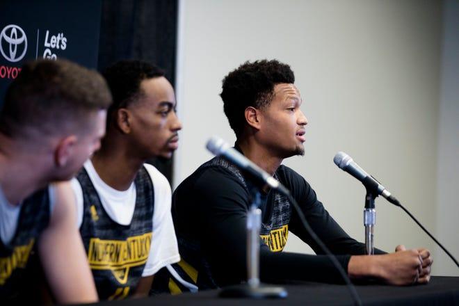 Northern Kentucky Norse forward Dantez Walton (32) speaks during NKU's basketball media day on Tuesday, Oct. 23, 2018 in Newport, Ky.