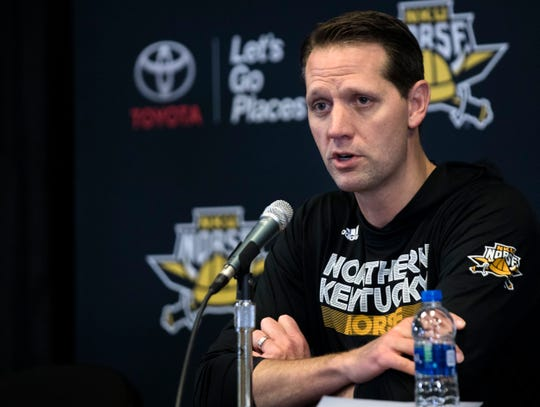 Northern Kentucky Norse head coach John Brannen speaks during NKU's basketball media day on Tuesday, Oct. 23, 2018 in Newport, Ky.
