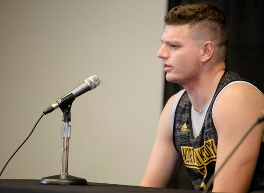 Northern Kentucky Norse forward Drew McDonald (34) speaks during NKU's basketball media day on Tuesday, Oct. 23, 2018 in Newport, Ky.