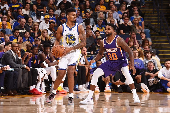 Jacob Evans #10 of the Golden State Warriors handles the ball against the Phoenix Suns during a preseason game on October 8, 2018 at ORACLE Arena in Oakland, California.