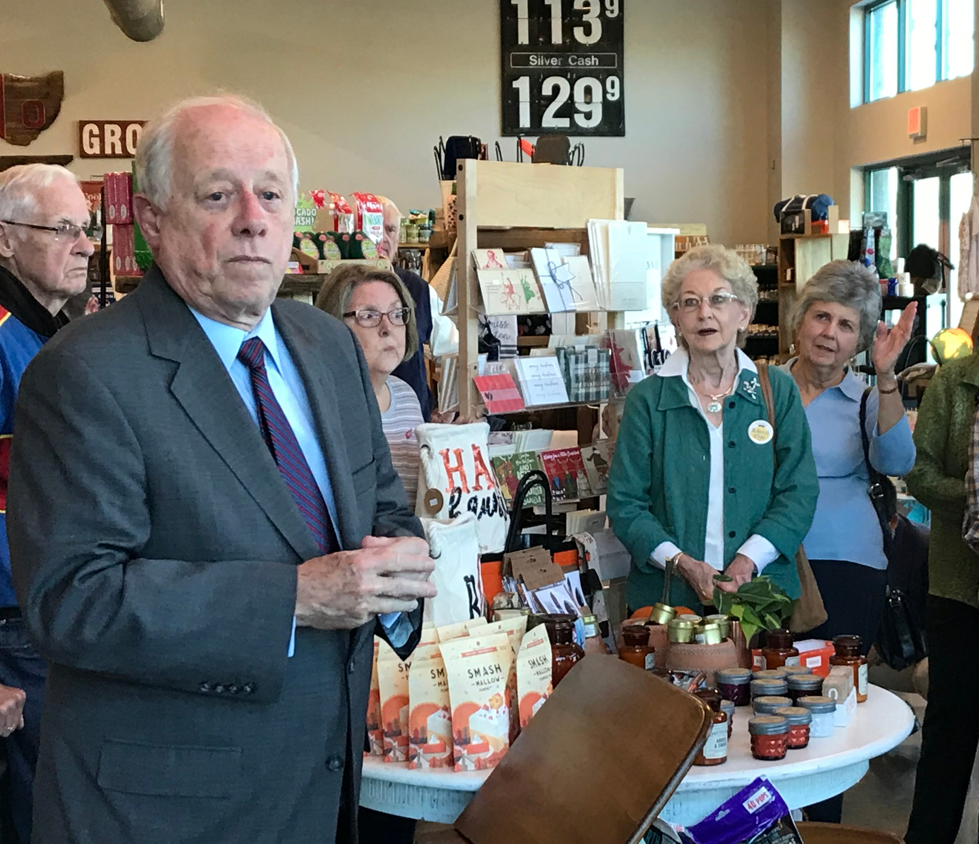 U.S. Senate candidate Phil Bredesen talks to people gathered at Sango Pharmacy in Clarksville on Tuesday, Oct. 23.