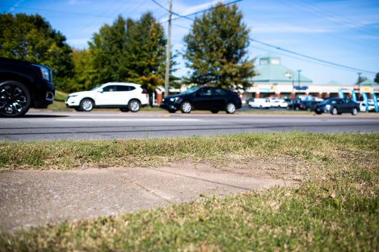 The sidewalk ends along Wilma Rudolph Boulevard near Fairview Lane in Clarksville, Tenn.