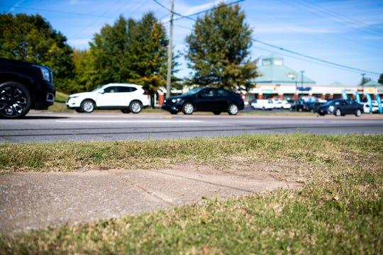 The sidewalk ends along Wilma Rudolph Boulevard near Fairview Lane in Clarksville, Tenn.