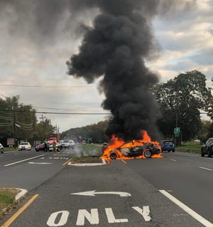 South Brunswick crash and car fire on Route 130 near Melrich Road Tuesday morning.