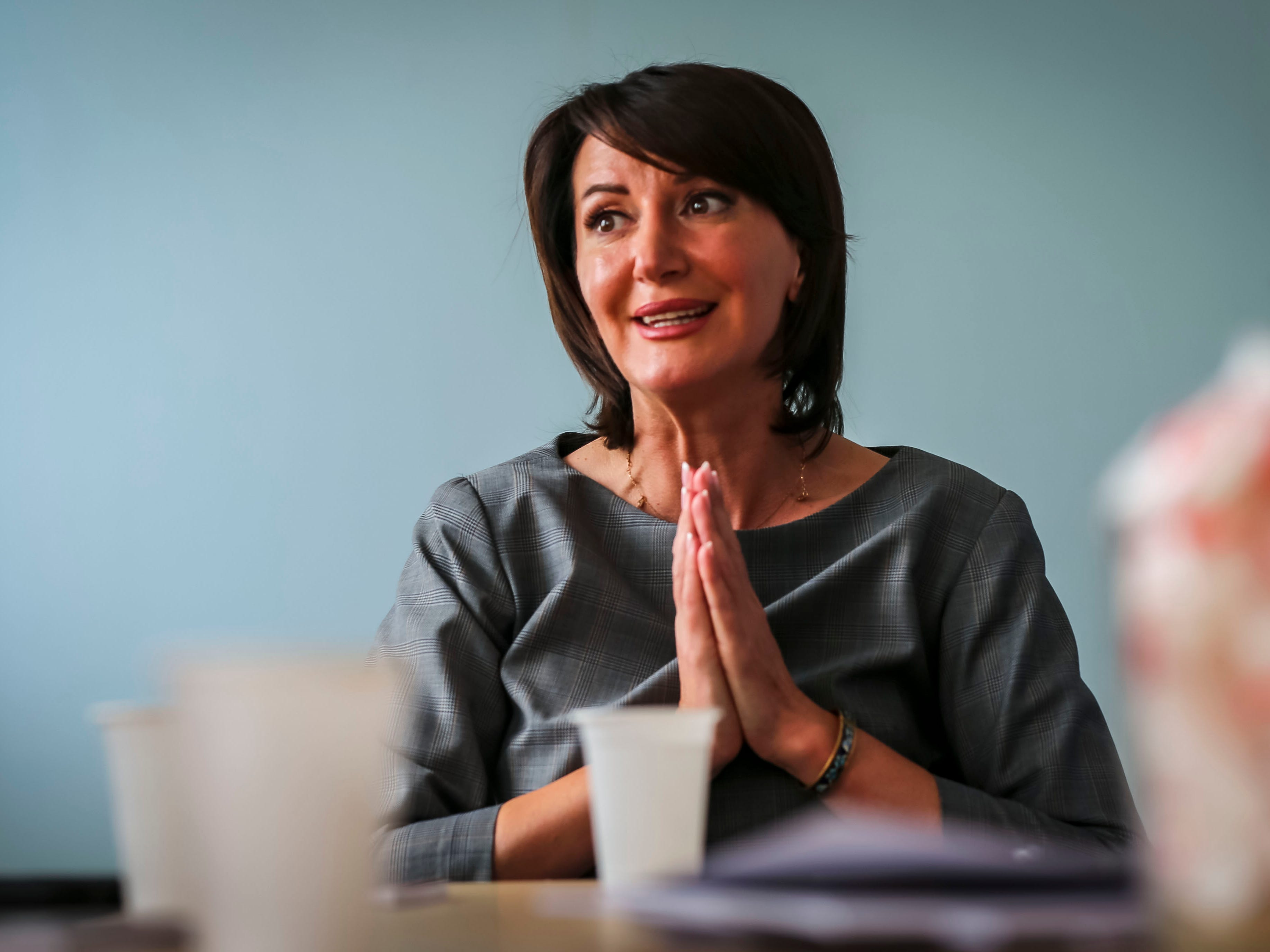 """Former Kosovo president Atifete Jahjaga speaks with the Register Tuesday, Sept. 18, 2018, in Pristina, Kosovo. """"I'm very proud (of this relationship) because from every single visit, something concrete comes out that opens the door to the partnership and the work between both of our states,"""" she said."""