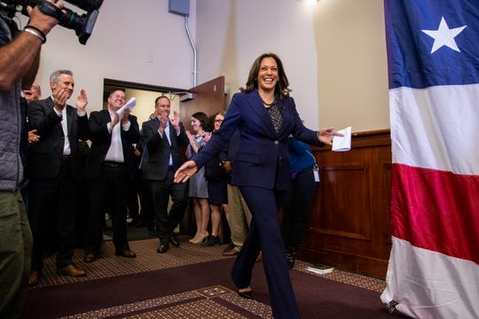 Kamala Harris, a Democrat Senator from California, takes the stage to speak during a rally with Polk County Democrats on Monday, Oct. 22, 2018, in Des Moines.