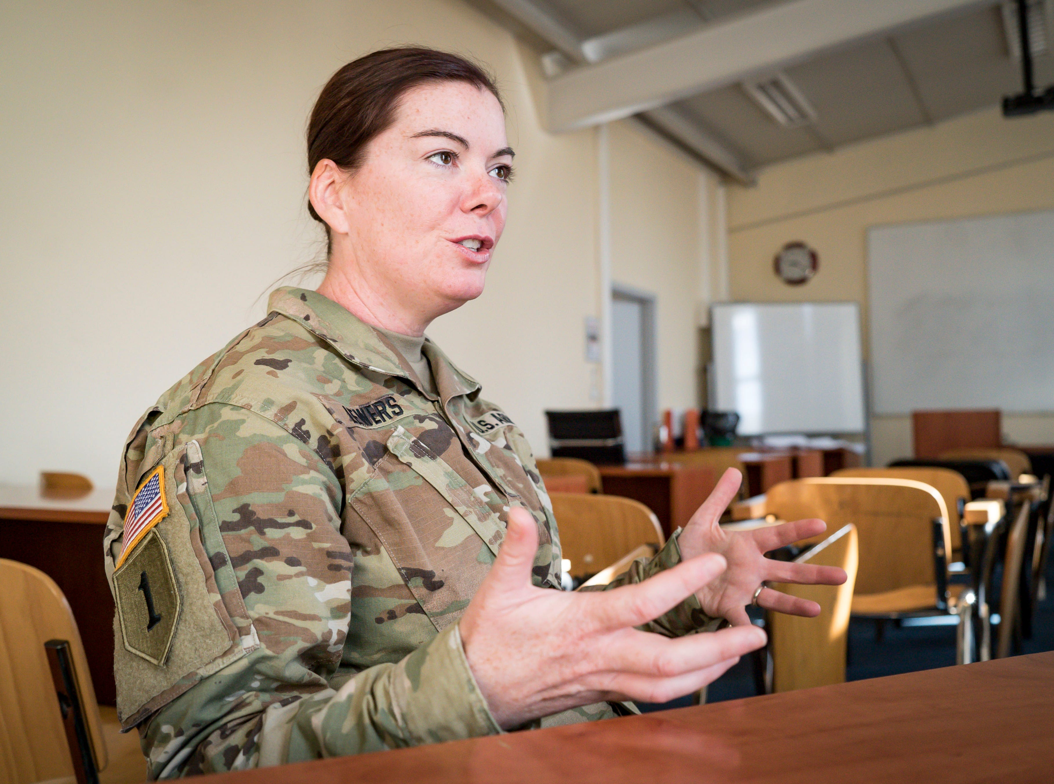 Maj. Kerri Lewers, 41, of West Des Moines, Bilateral Affairs Officer, part of the Department of Defense team within the American embassy coordinating assistance to the Kosovo Security Force (KSF).Shown here Tuesday, Sept. 18, 2018, at RIT's American University of Kosovo camps in Pristina.