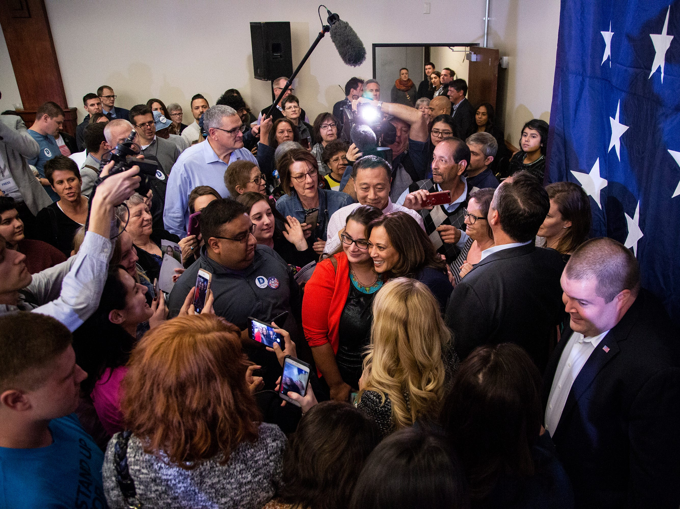 Kamala Harris, a Democrat Senator from California, poses for photos after a rally with Polk County Democrats on Monday, Oct. 22, 2018, in Des Moines.