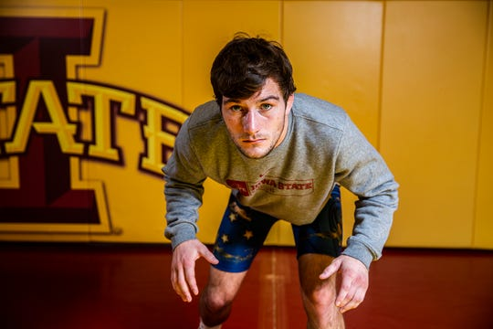 Iowa State wrestling's Chase Straw poses for a photo on the team's media day, Tuesday, Oct. 23, 2018, on the Iowa State campus.