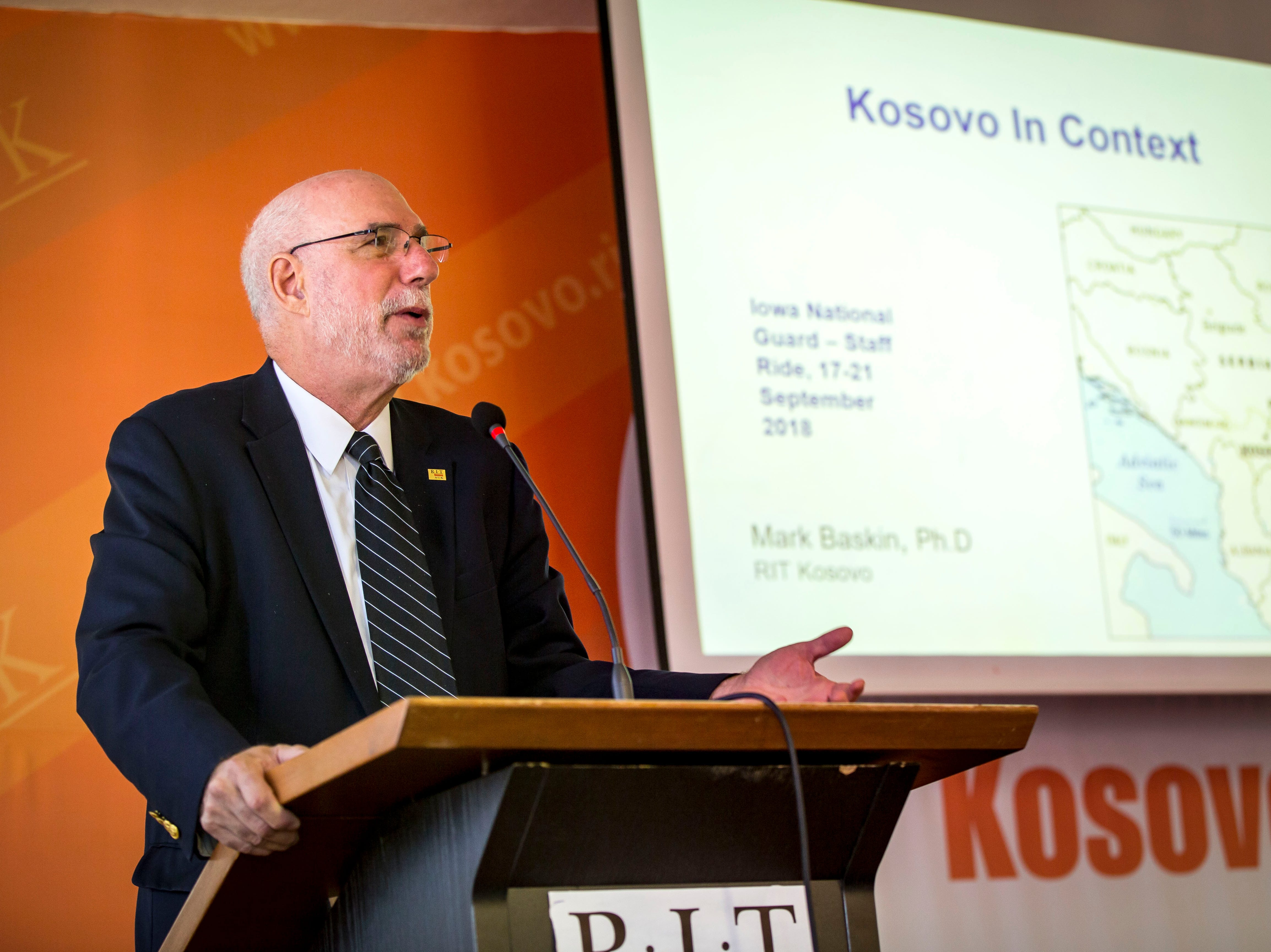 Mark A. Baskin, Ph.D, who teaches courses in international relations and public policy at RIT KosovoÊ(A.U.K)., speaks with Iowa National Guardsman, in Pristina, Kosovo, Tuesday, Sept. 18, 2018. Dr. Baskin had served as Chief of Party of the Kosovo Transitional Leadership.