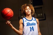 Noah Thomas stands for a portrait at Drake Mens Basketball media day Tuesday, Oct. 23, 2018.