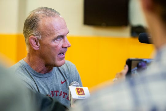Iowa State coach Kevin Dresser, pictured here during the team's media day in October 2018, successfully recruited a top-10 recruiting class for 2019, according to Intermat.