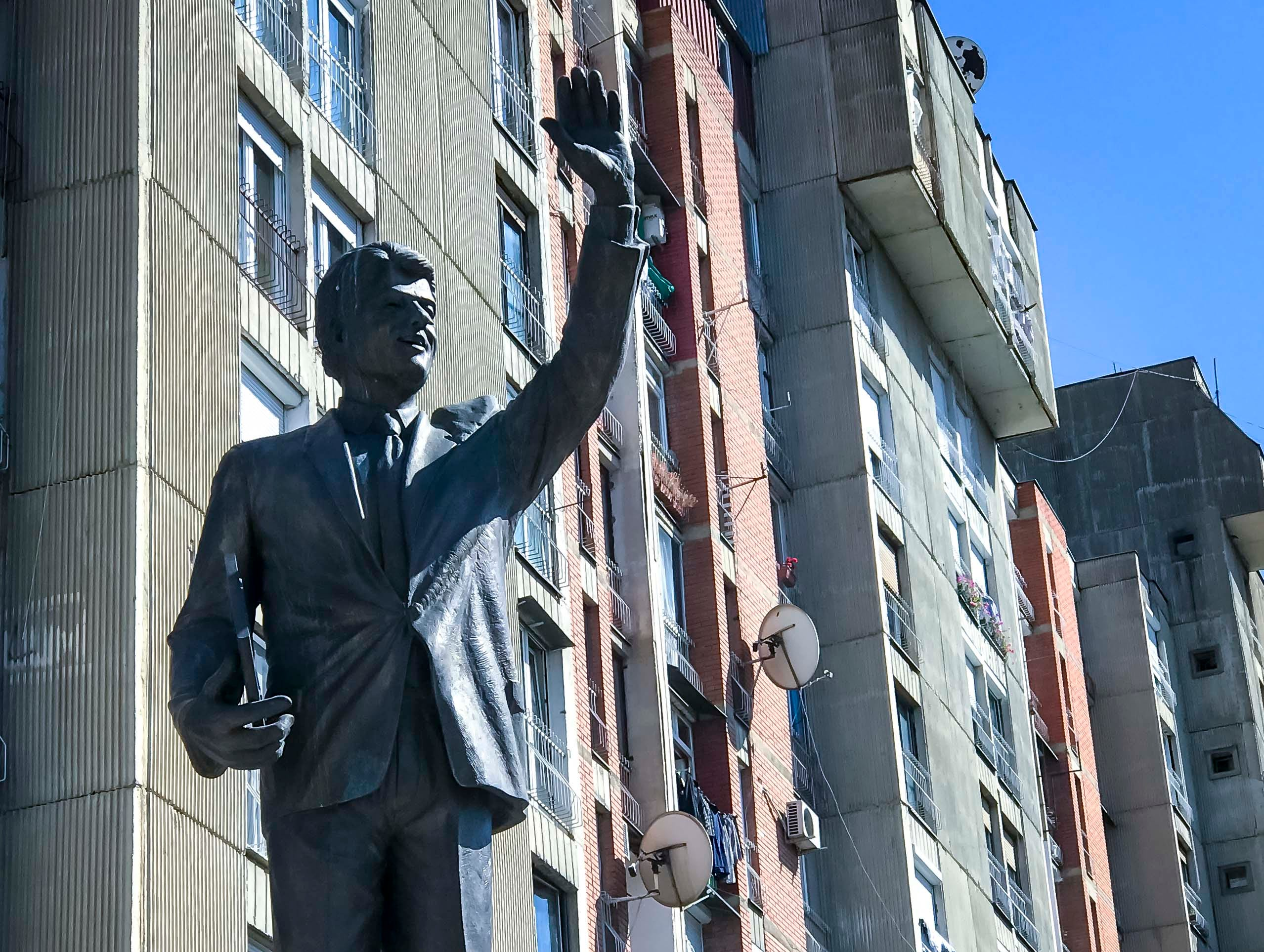 A statue to President Bill Clinton was erected in 2009 along Bill Clinton Boulevard in Pristina, Kosovo, Tuesday, Sept. 18, 2018. President Clinton called for NATO military involvement in Kosovo in 1999 and many streets and roads bear United States' presidents' names.