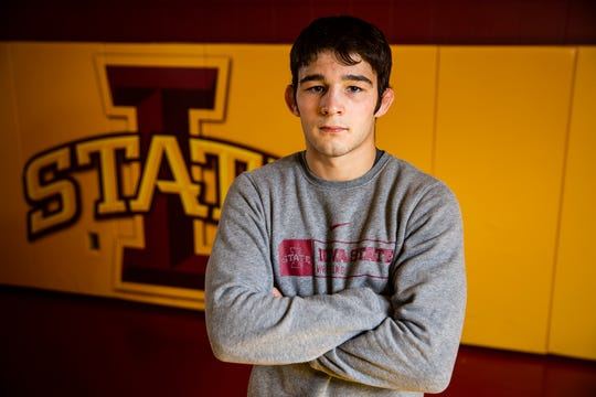 Iowa State wrestling's Ian Parker poses for a photo on the team's media day, Tuesday, Oct. 23, 2018, on the Iowa State campus.