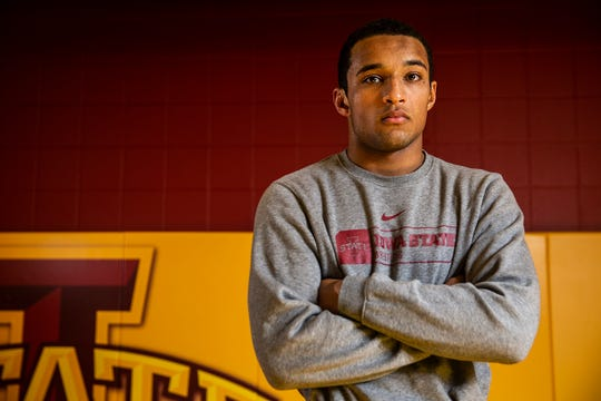 Iowa State wrestling's Marcus Coleman poses for a photo on the team's media day, Tuesday, Oct. 23, 2018, on the Iowa State campus.