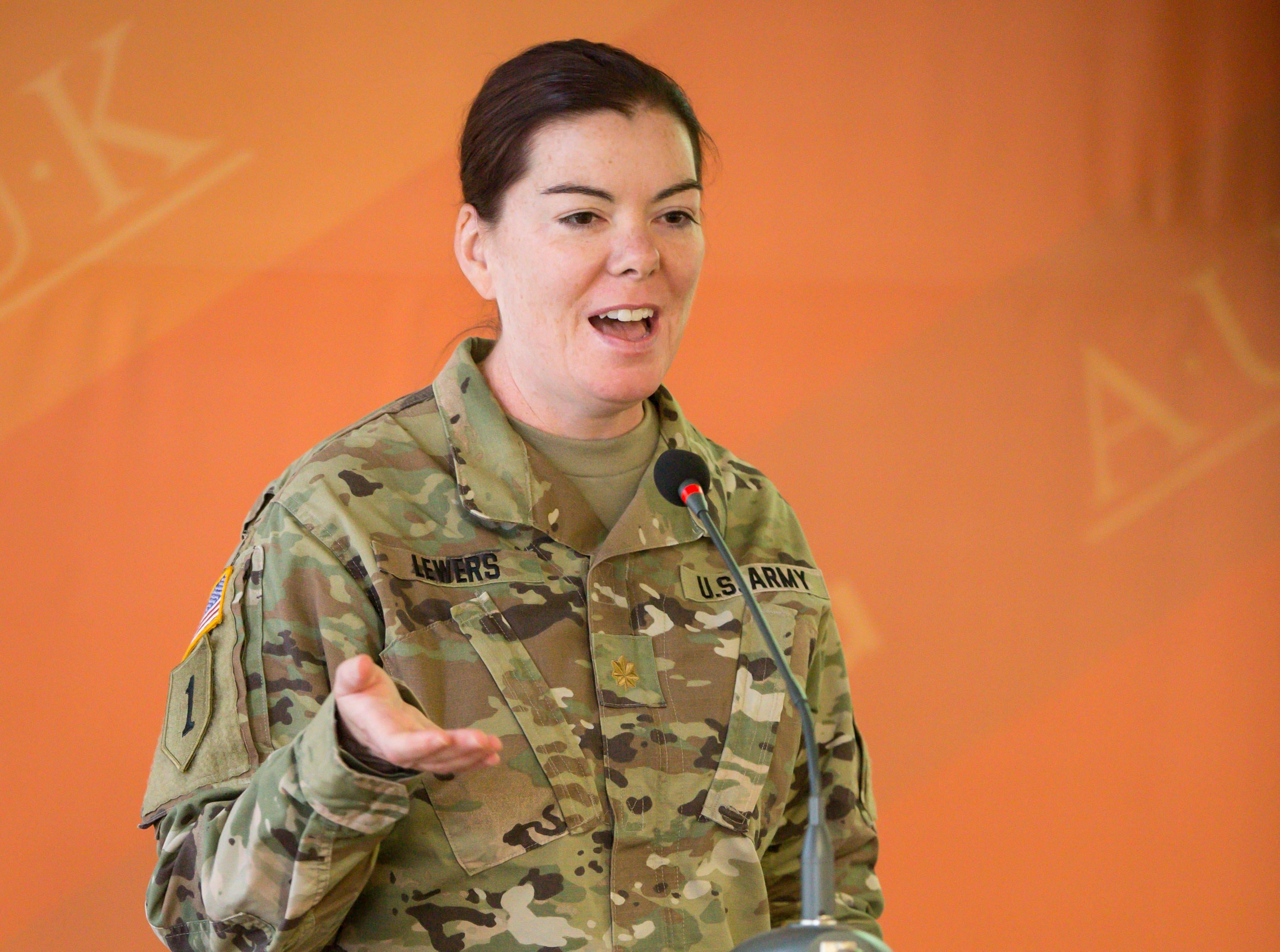 Maj. Kerri Lewers, 41, of West Des Moines, Bilateral Affairs Officer, part of the Department of Defense team within the American embassy coordinating assistance to the Kosovo Security Force (KSF).ÊShown here Tuesday, Sept. 18, 2018, at RIT's American University of Kosovo camps in Pristina.