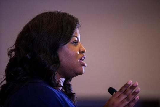 Deidre DeJear, Democrat running for secretary of state, speaks to voters during a rally with Polk County Democrats on Monday, Oct. 22, 2018, in Des Moines.