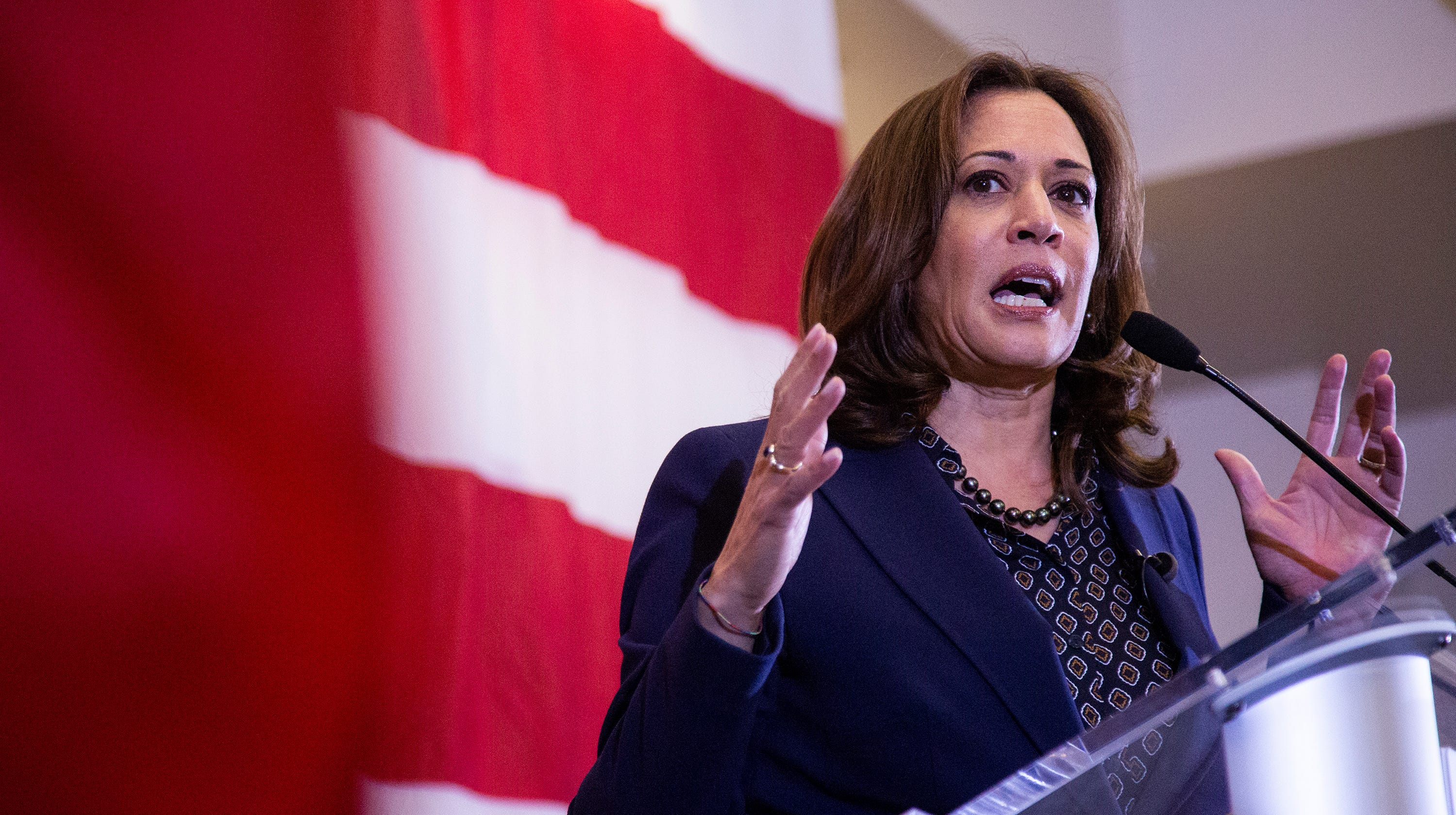 Kamala Harris, a Democrat Senator from California, speaks during a rally with Polk County Democrats on Monday, Oct. 22, 2018, in Des Moines.
