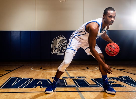 D.J. Wilkins stands for a portrait at Drake Mens Basketball media day Tuesday, Oct. 23, 2018.