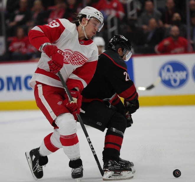 Detroit Red Wings left wing Tyler Bertuzzi goes for the puck against against Carolina Hurricanes right wing Sebastian Aho during the first period Monday, Oct. 22, 2018 at Little Caesars Arena in Detroit.